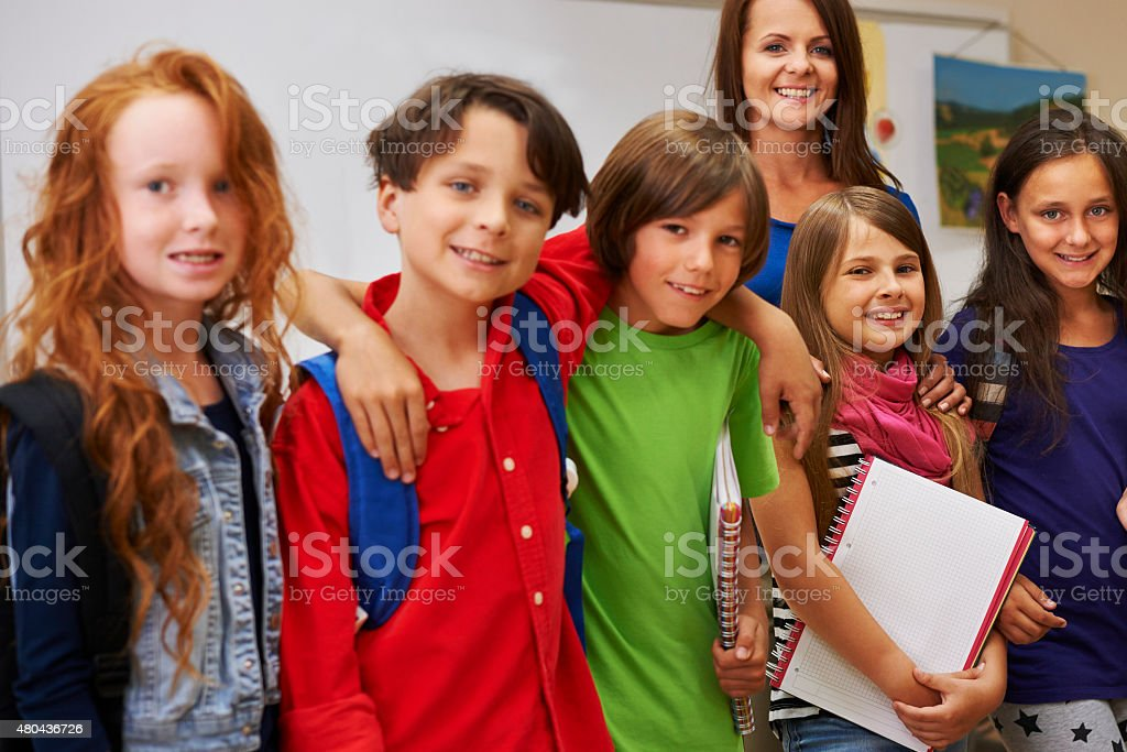 Our teacher is the best stock photo