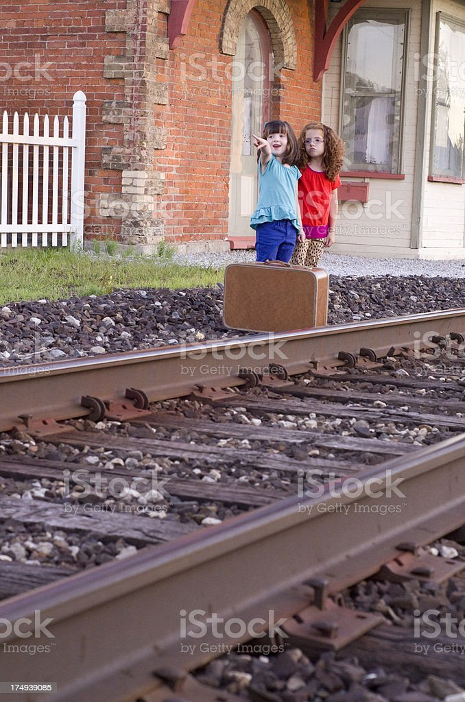 our train is coming down the tracks royalty-free stock photo