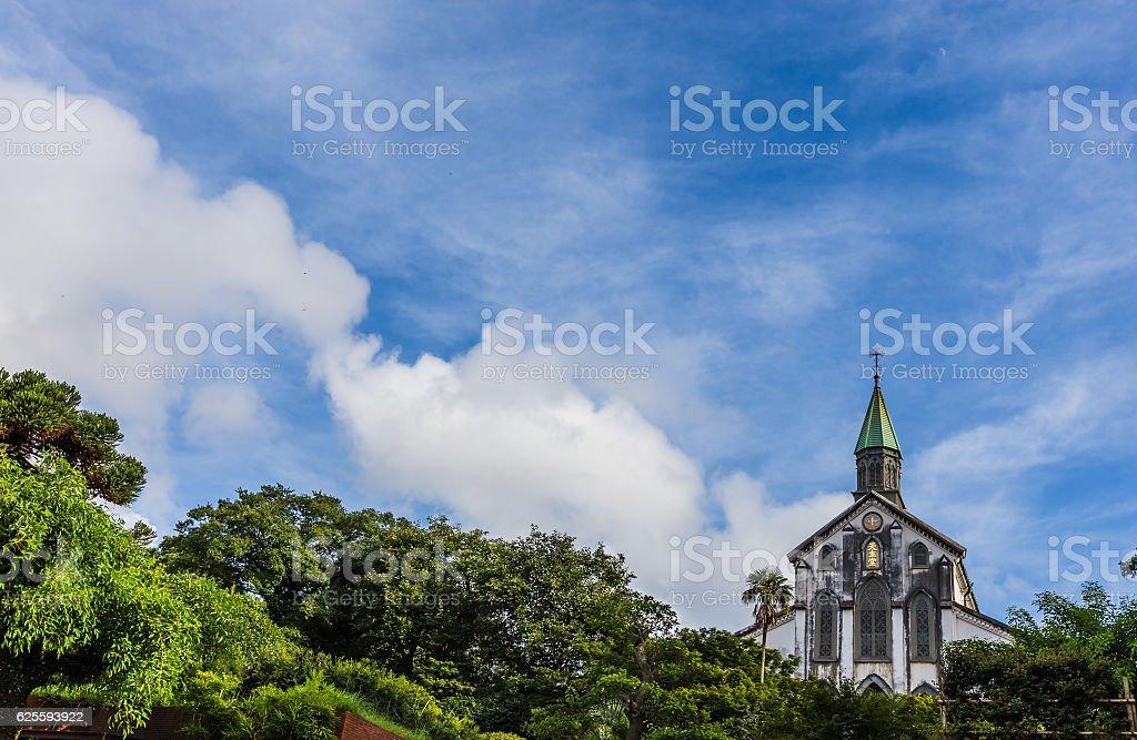 Oura Catholic Church  and blue sky in Nagasaki, Japan stock photo