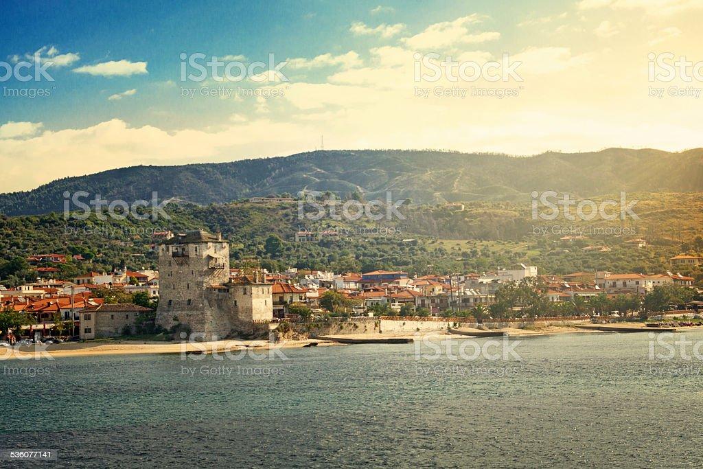 Ouranopoli Tower, Greece stock photo
