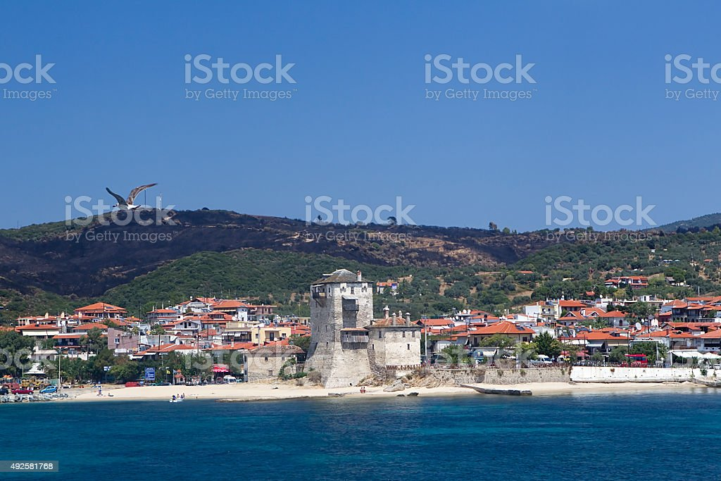 Ouranoupoli City, view from the sea stock photo