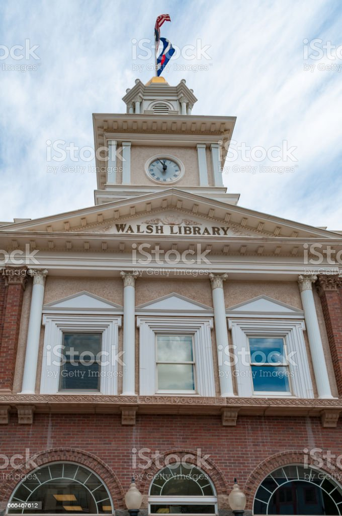 Ouray City Hall and Walsh Library stock photo
