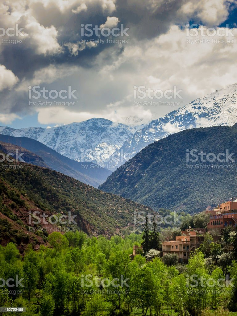 Ourika Valley view from the mountains stock photo