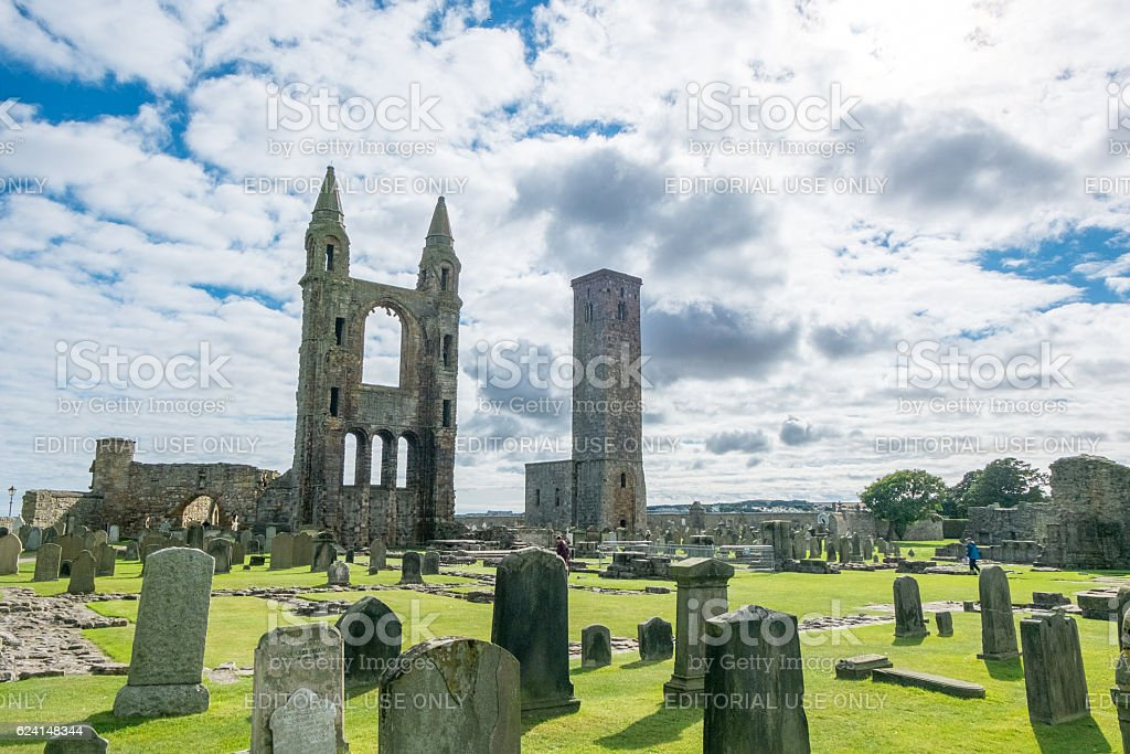 ourist around Ruin of St Andrews Cathedral in St Andrews. stock photo