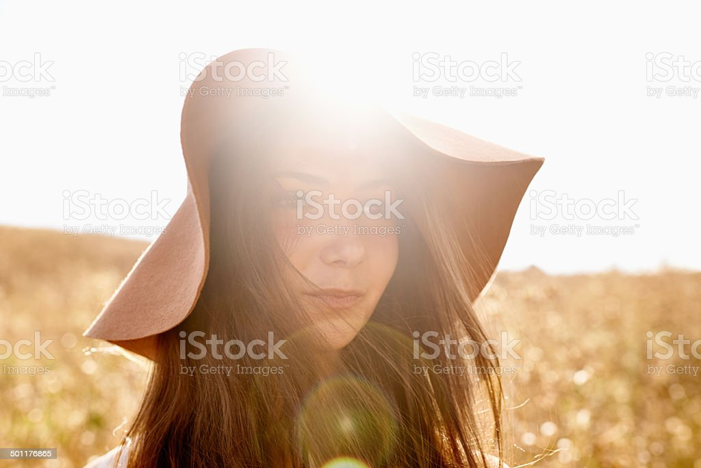 Out and about in the fields of gold royalty-free stock photo