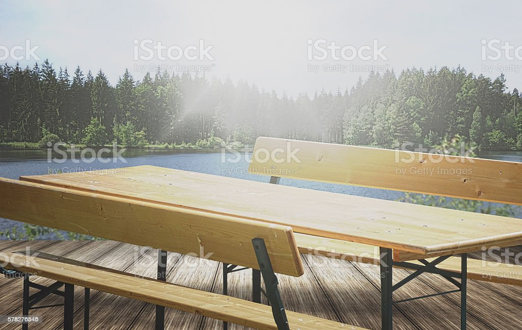 out beer bench sky forest nature photo stock photo