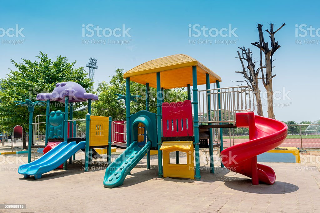 out door playground for kids stock photo