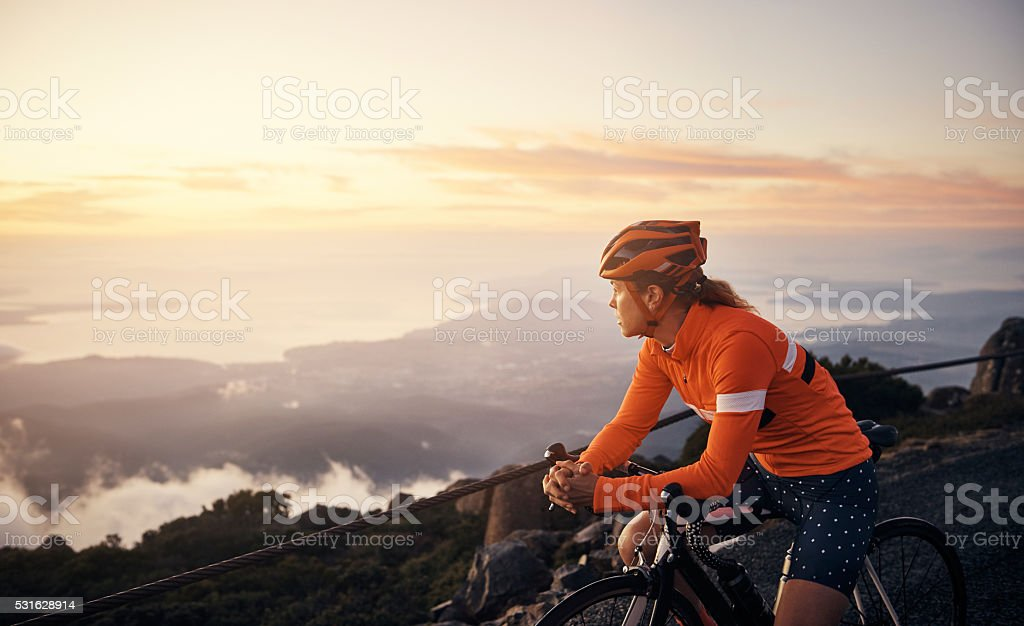 Out for a scenic cycle stock photo