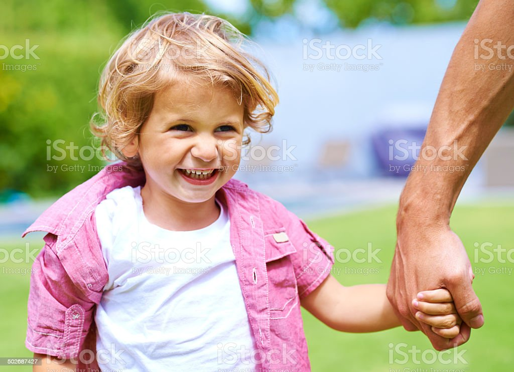 Out for the day with Dad royalty-free stock photo