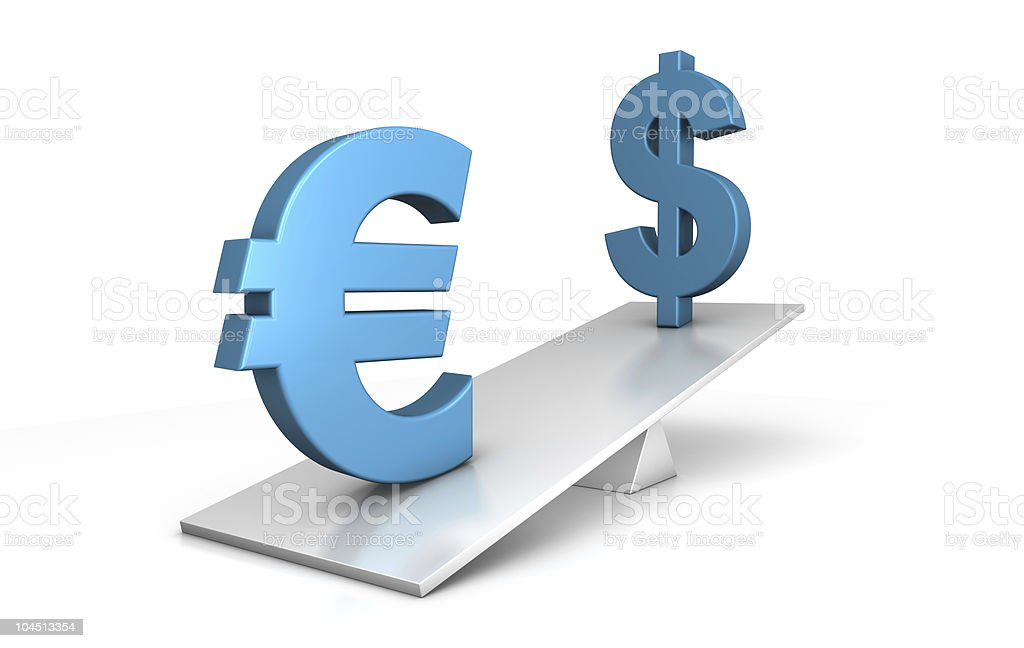 out of balance - euro and dollar royalty-free stock photo