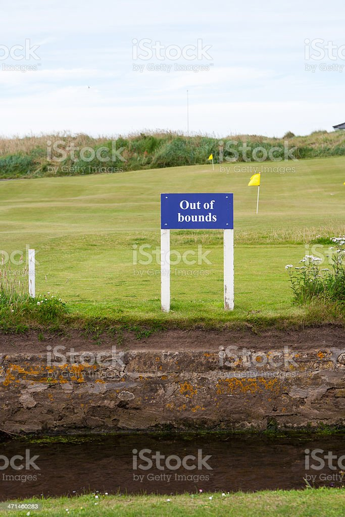 'Out of Bonds' sign, St Andrews Old course royalty-free stock photo
