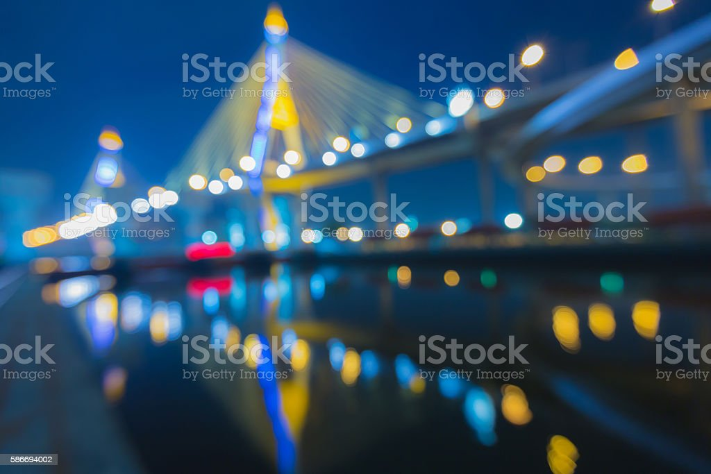 Out of focus bokeh lights of Phomipoon Bridge stock photo