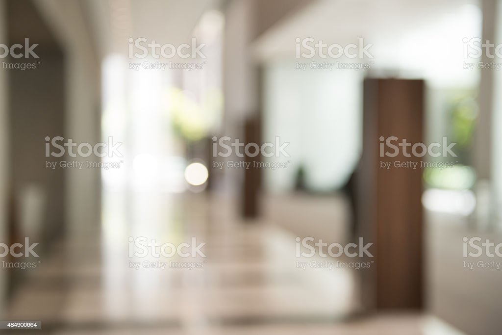 Out of Focus Modern Building Lobby Background stock photo