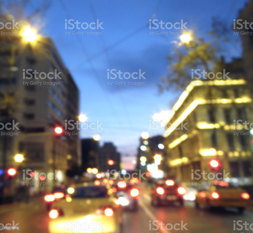 out of focus night Athens stock photo