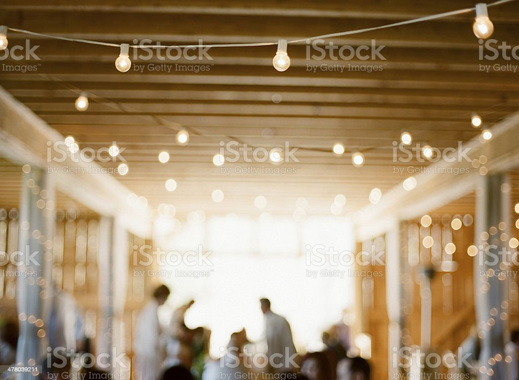 Out of focus party with lights stock photo
