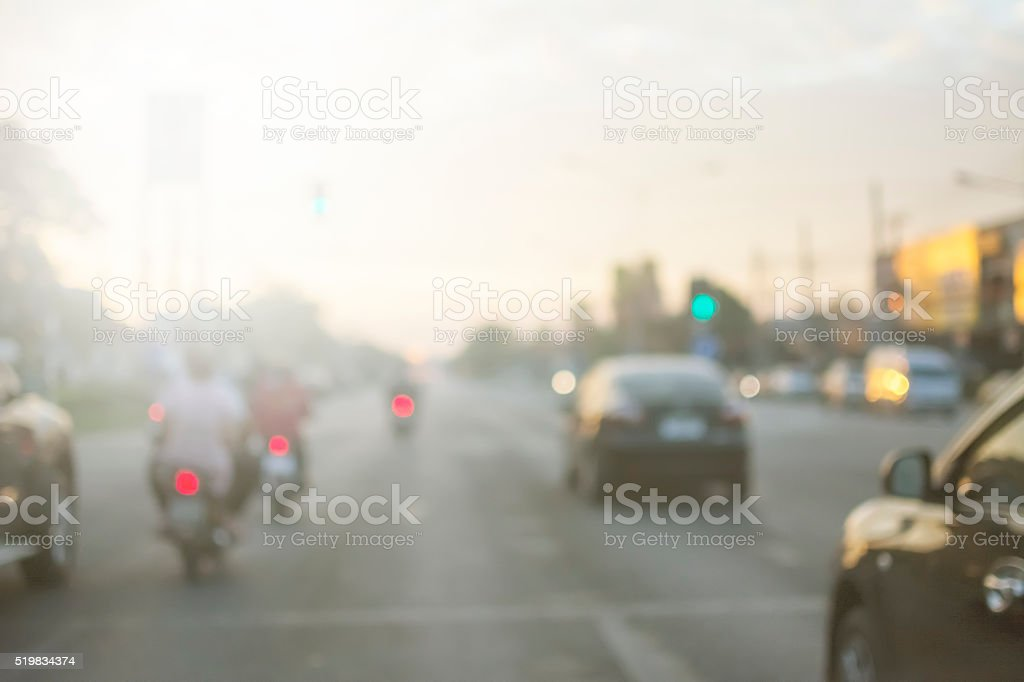 out of focus street view runing car and motorcycles stock photo