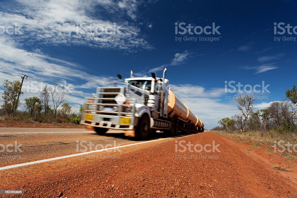 Out of focused shot of an fuel tanker stock photo