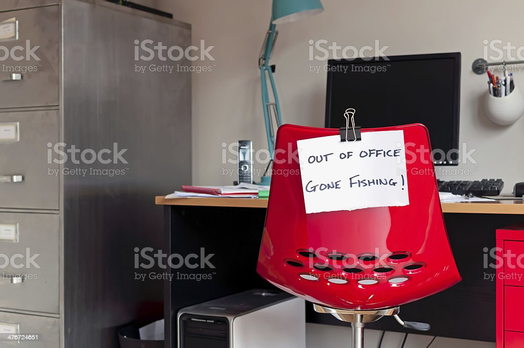 Out of Office. Gone Fishing! stock photo