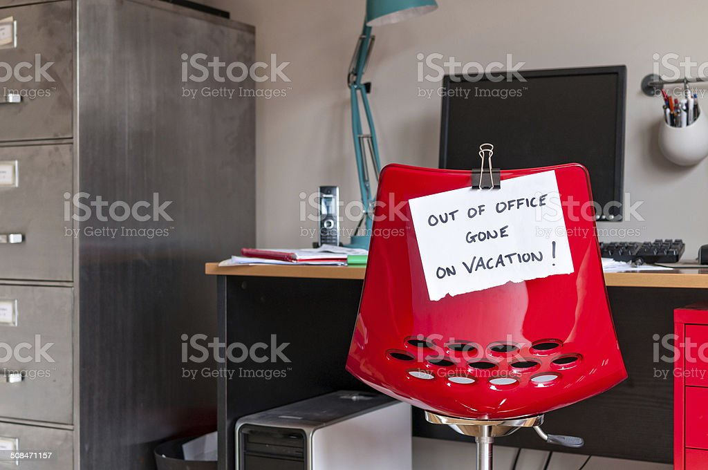 Out of Office. Gone on Vacation! stock photo