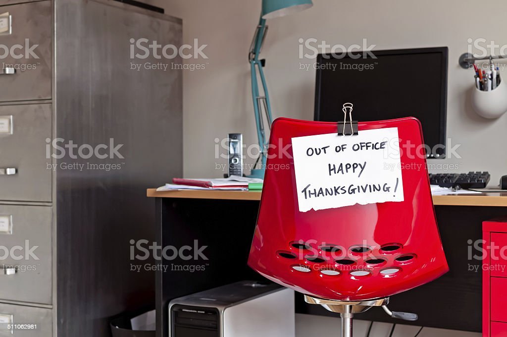 Out of Office. Happy Thanksgiving! stock photo