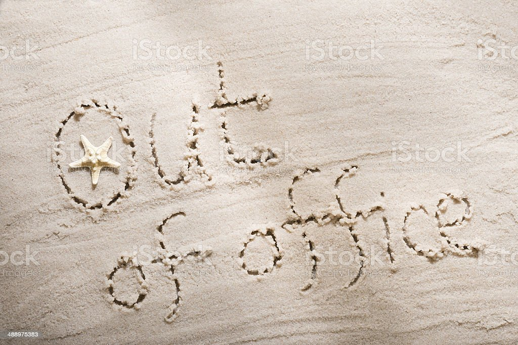 Out of office. simple concept word stock photo
