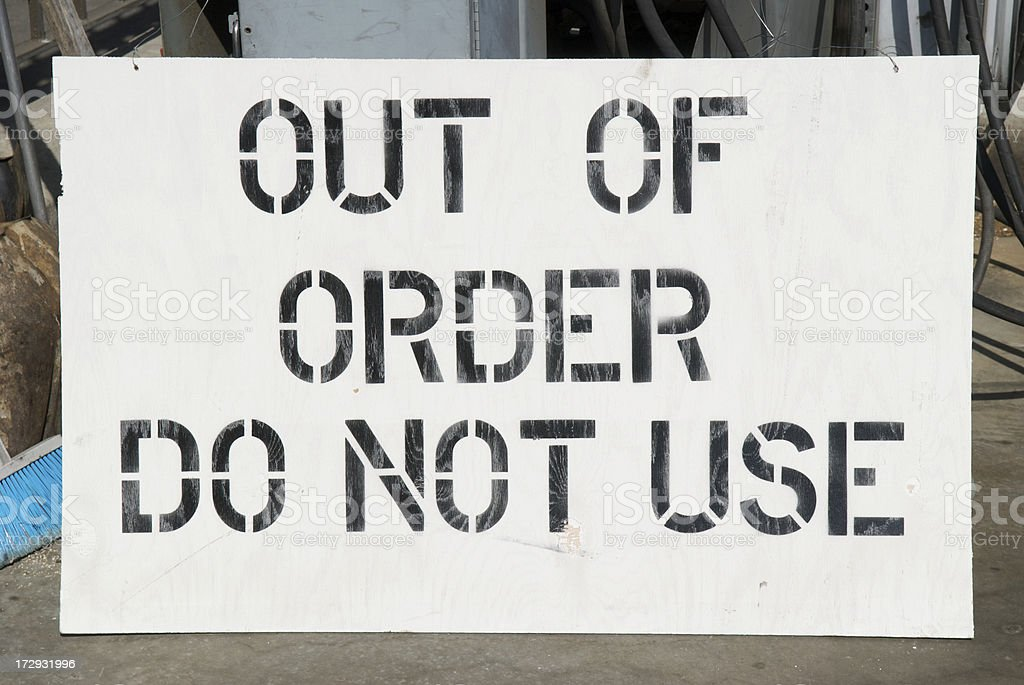 Out of Order Do Not Use Sign royalty-free stock photo