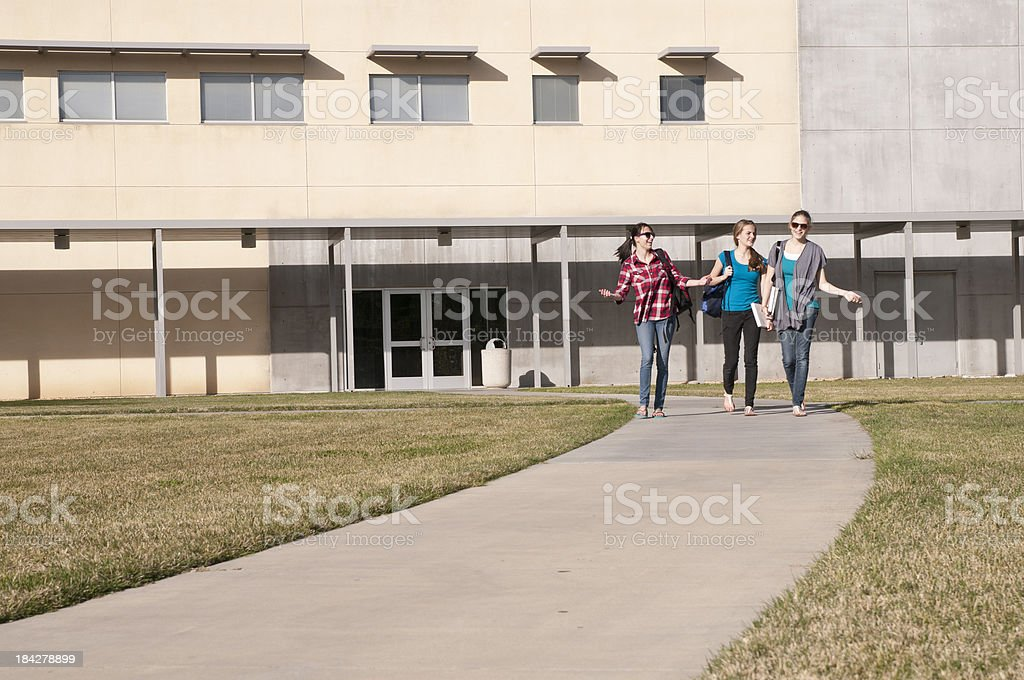 Out of School Happiness Seen in Three Teenage Girls royalty-free stock photo