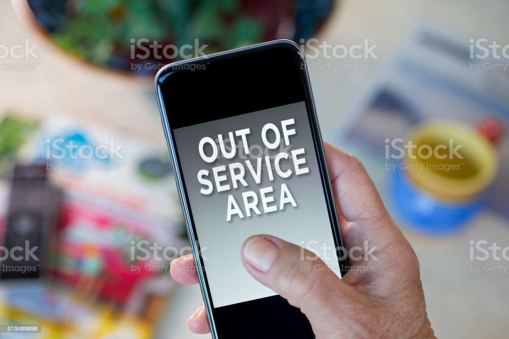 Out of Service Area on mobile phone stock photo