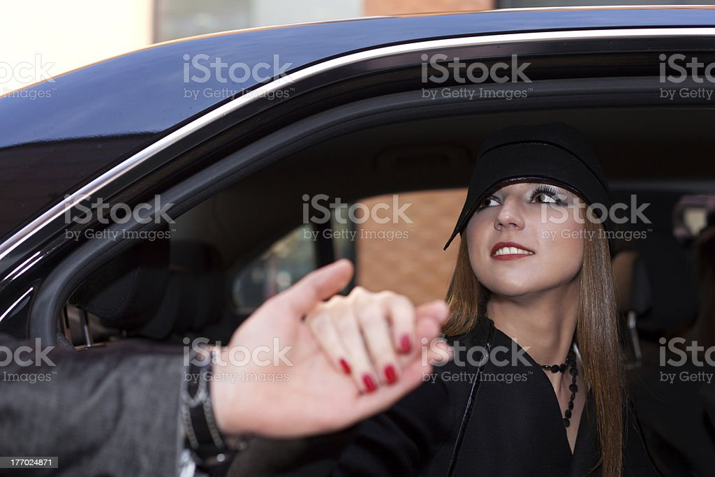 Out of the car royalty-free stock photo
