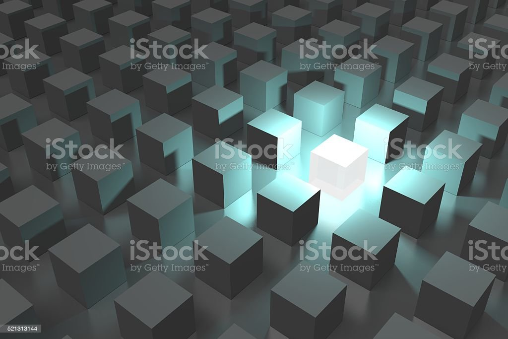 3D out of the crowd concept stock photo