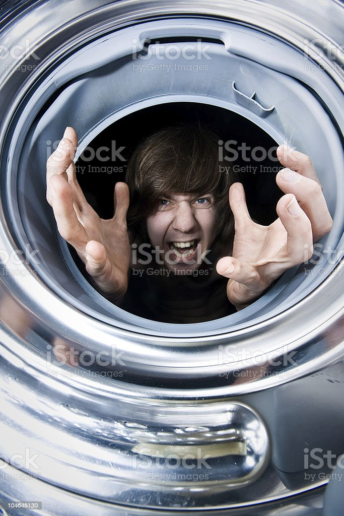 Out of the washing maschine stock photo