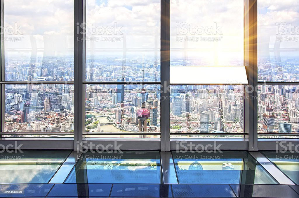 Out of the window is Shanghai lujiazui financial center stock photo