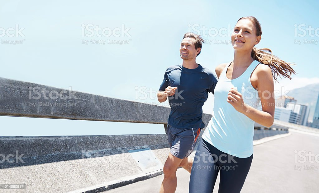 Out running on a beautiful day stock photo