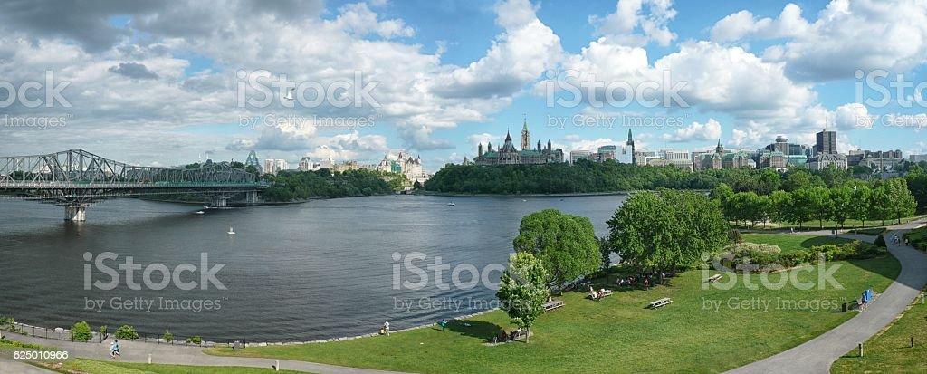 Outaouais River and Parliament hill, Ottawa, Ontario, Canada stock photo