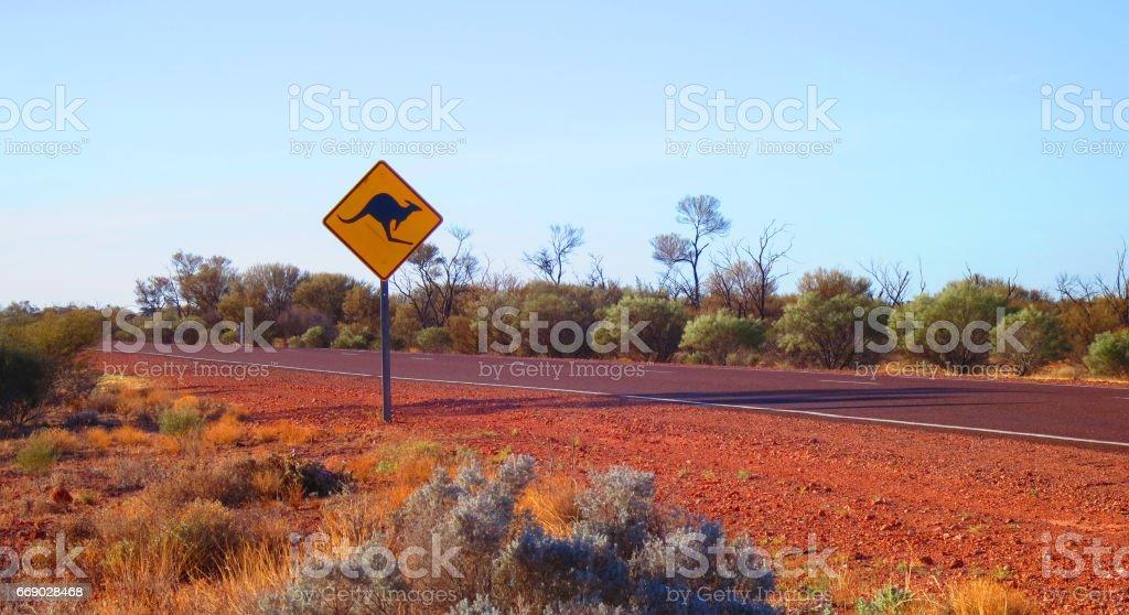 Outback australian famous iconic kangaroo motorway road sign taken in the desert on the stuart highway in South Australia, SA stock photo