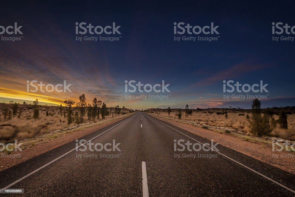 Outback highway sunset stock photo