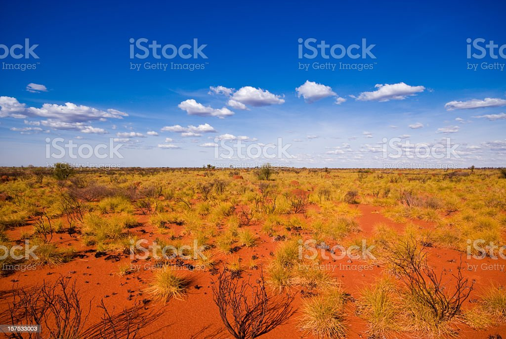 Outback landscape showing the blue sky and orange sands stock photo