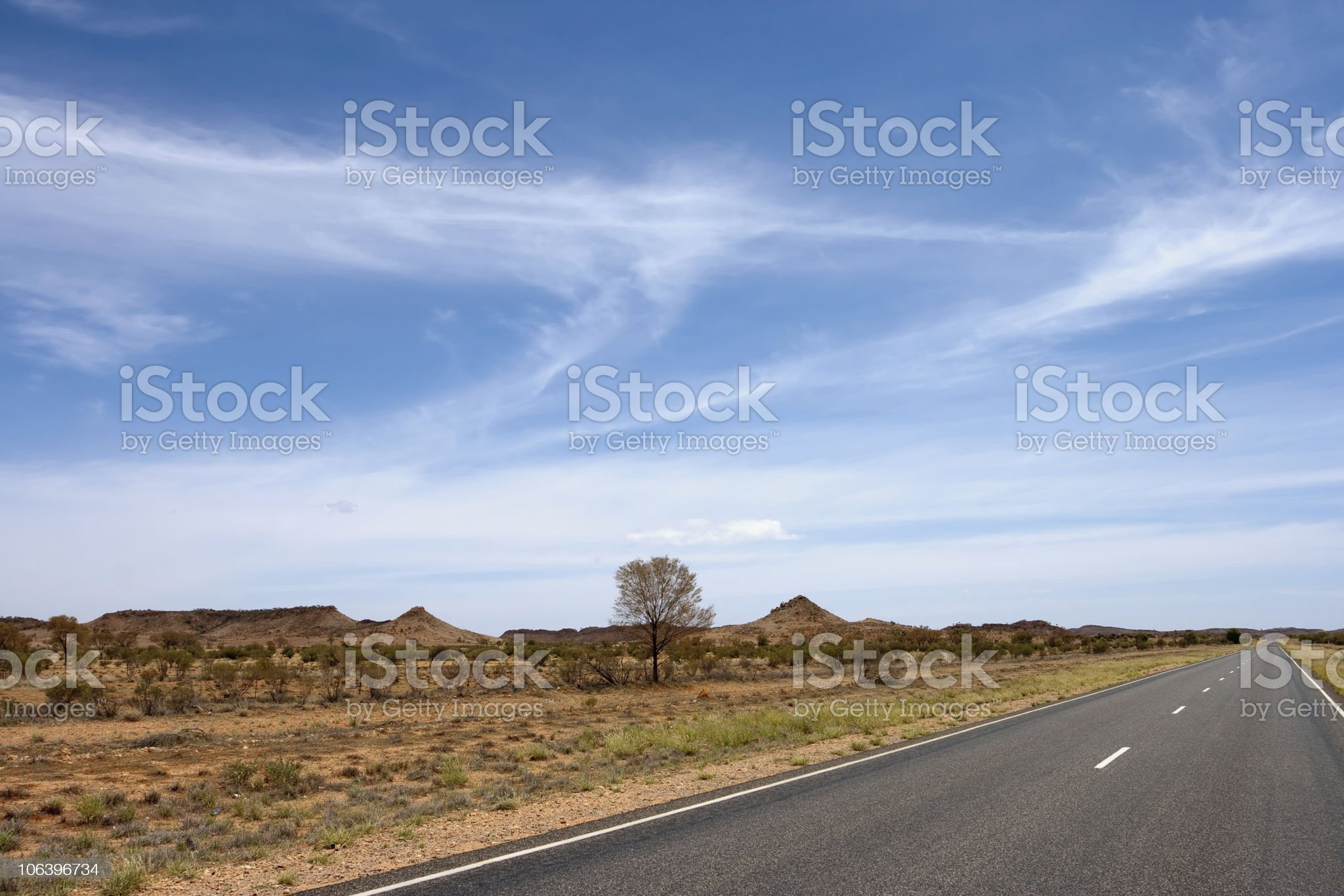 Outback Landscape with Empty Road,Australia royalty-free stock photo