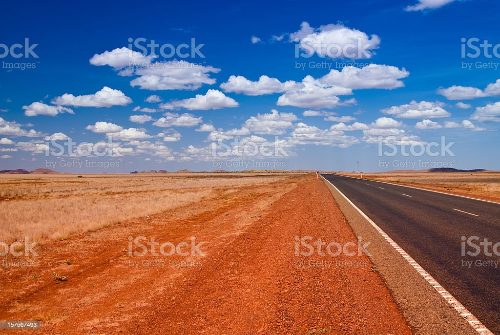 Outback Landscape with straight road stock photo