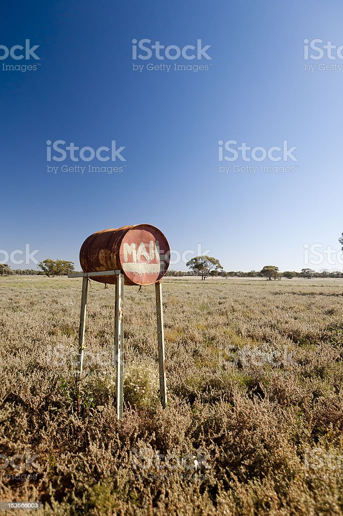 Outback mail box –vertical wide shot royalty-free stock photo