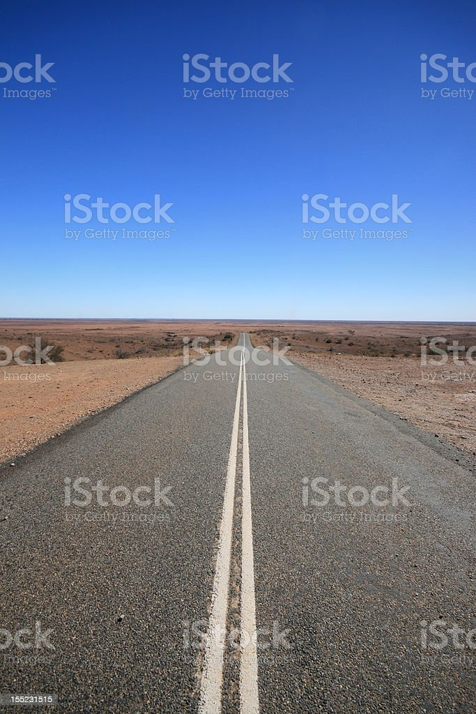 Outback Road Australia, Vanishing into the Desert stock photo