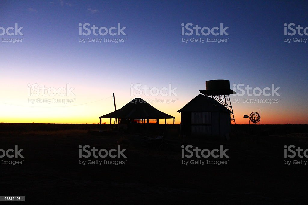 Outback Sunset on Cattle Station stock photo