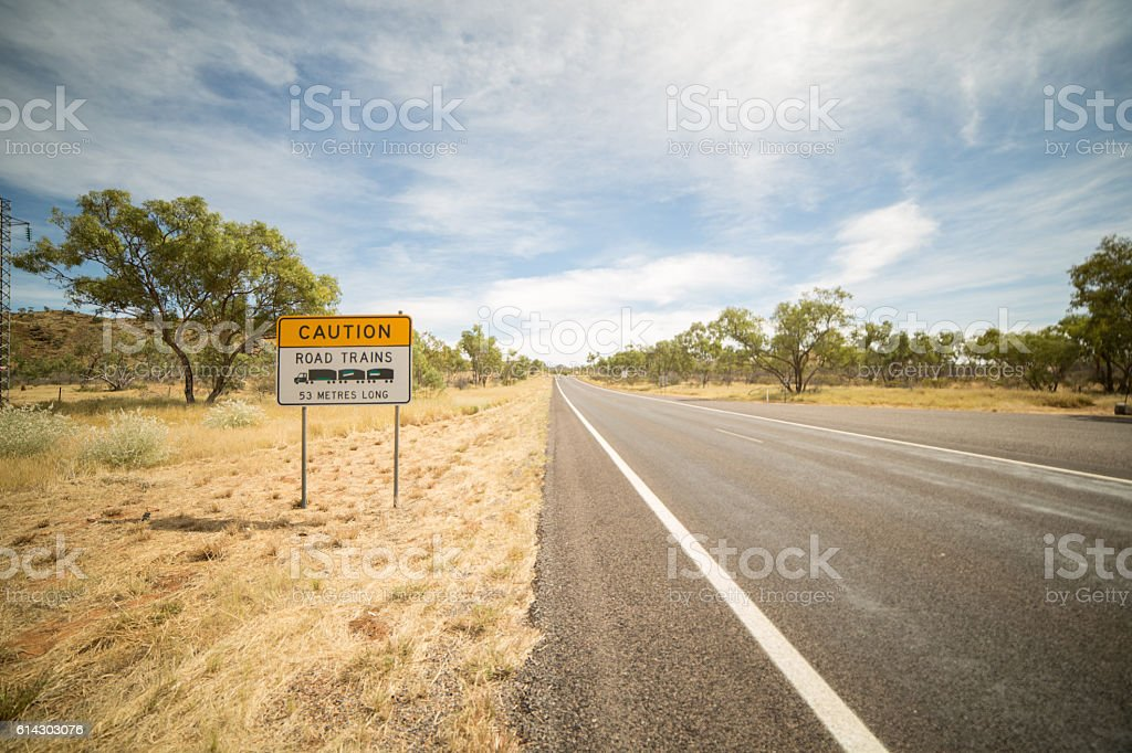 Outback warning sign of road trains stock photo