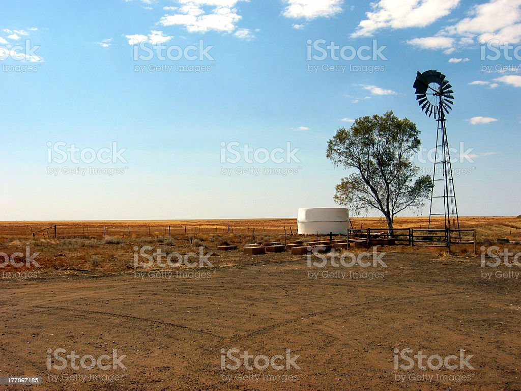 Outback Wind Mill Water Pump stock photo