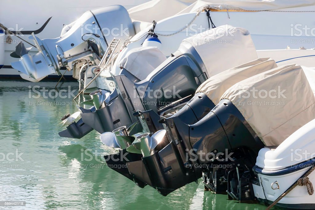 Outboard engines profiles view stock photo