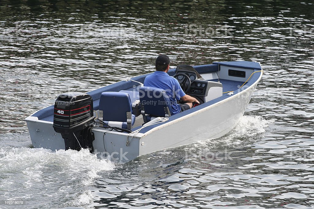 Outboard Motor Boat stock photo