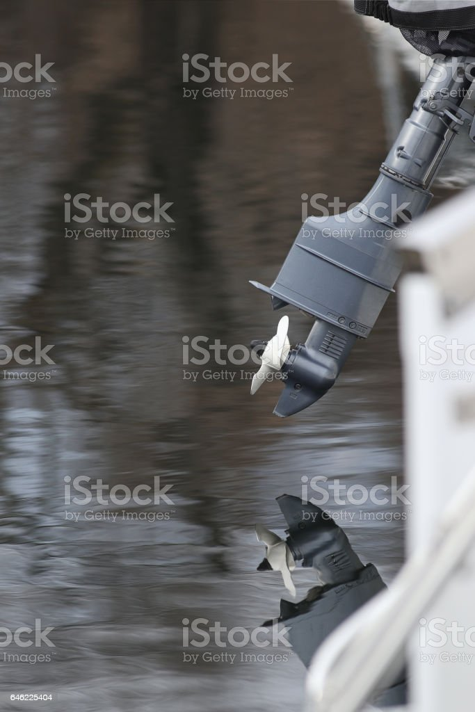 Outboard motor close-up stock photo