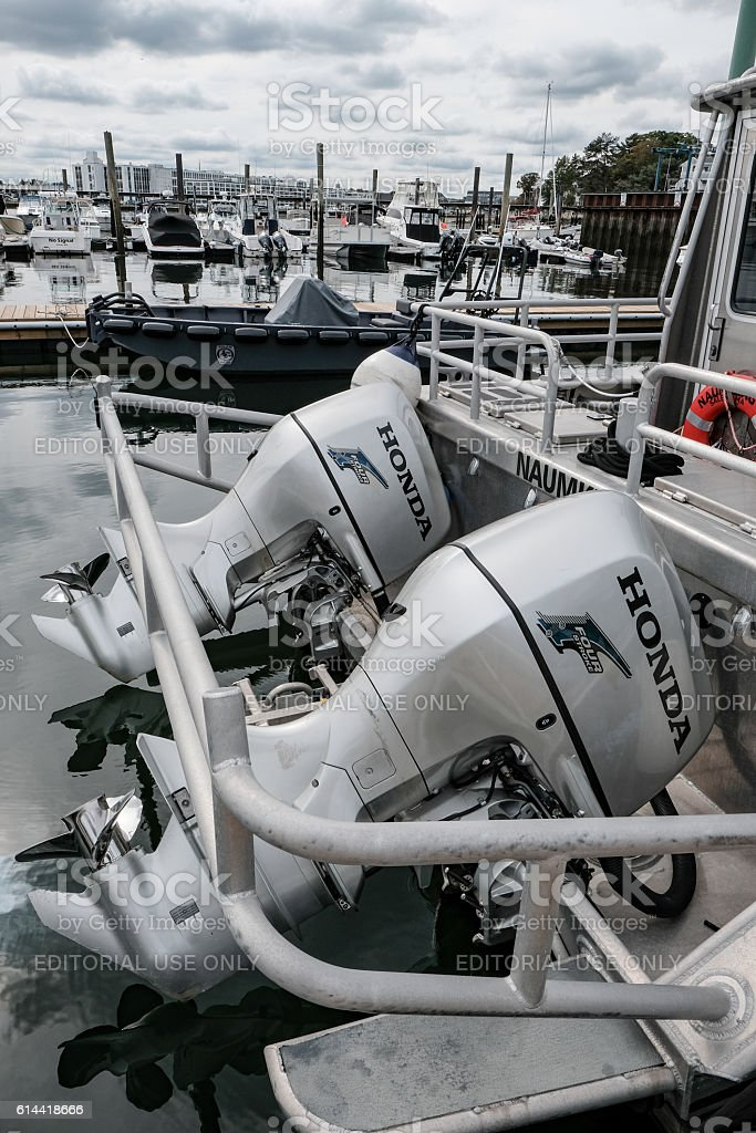 Outboard Motor Engines On A Speedboat stock photo