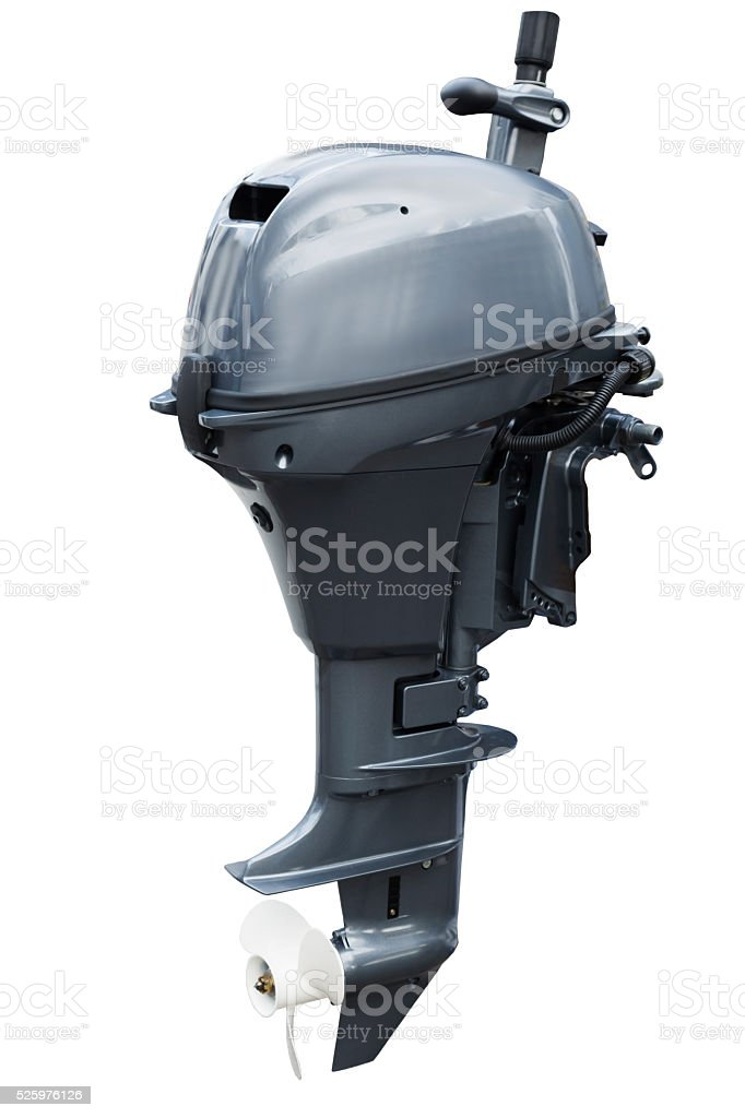 Outboard motor isolated on white background stock photo