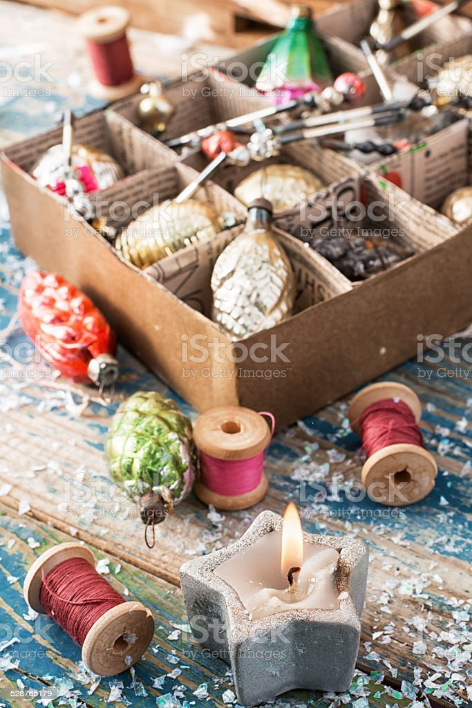 outdated Christmas toys in cardboard box stock photo
